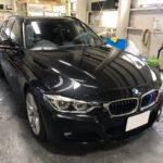 カーフィルム、BMW 320dワゴン フロントサイド2面(88%ピュア)遮熱フィルム施工で入庫。