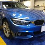 カーフィルム、BMW 420iグランクーペ リア全面(10%)遮熱フィルム施工で入庫。