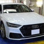 Audi A7、フロントグリル/ドアトリム/リアバンパーのメッキモールにラッピングフィルムを施工しました!