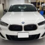 カーフィルム、BMW   X2 リア全面(IRグリーン15%)遮熱フィルム施工で入庫。
