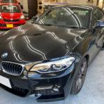カーフィルム、BMW   220i リア全面(10%)遮熱フィルム施工で入庫。